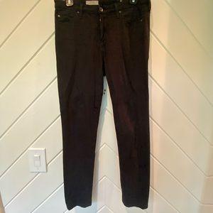AG The Prima mid rise cigarette jeans black sateen